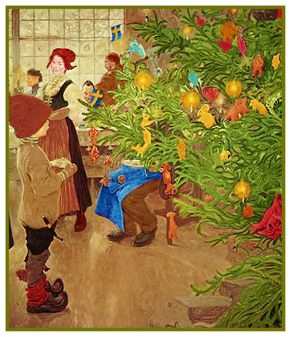Young Boy Gazing at Christmas Tree by Carl Larsson Holiday Christmas Counted Cross Stitch Pattern