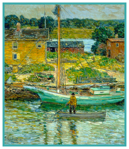 Oyster Sloop Boat Cos Cob New York by American Impressionist Painter Childe Hassam Counted Cross Stitch or Counted Needlepoint Pattern