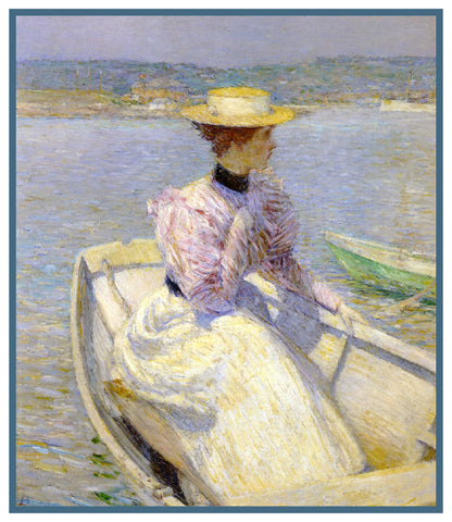 Woman in the White Dory Boat by American Impressionist Painter Childe Hassam Counted Cross Stitch Pattern