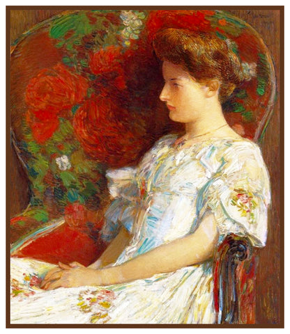 Woman in the Red Chair by American Impressionist Painter Childe Hassam Counted Cross Stitch Pattern