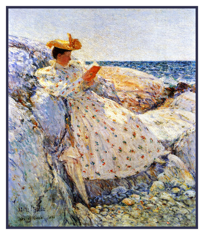 Woman Reading by the Sea on Isle of Shoals by American Impressionist Painter Childe Hassam Counted Cross Stitch Pattern