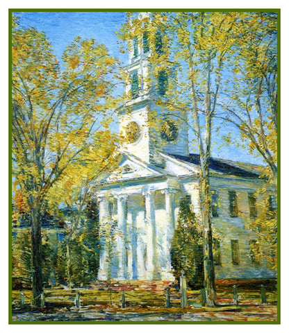 Church in Spring in Old Lyme Connecticut by American Impressionist Painter Childe Hassam Counted Cross Stitch or Counted Needlepoint Pattern