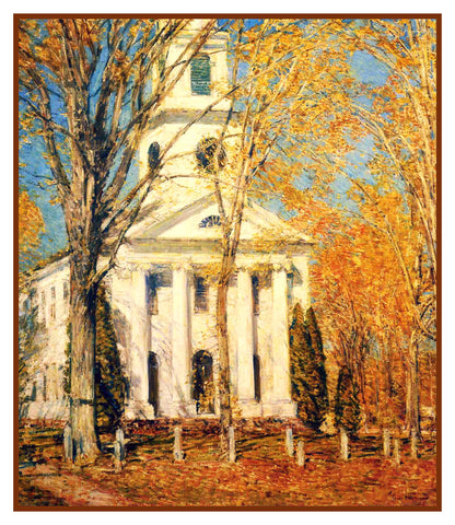 Church in Autumn Old Lyme Connecticut by American Impressionist Painter Childe Hassam Counted Cross Stitch or Counted Needlepoint Pattern