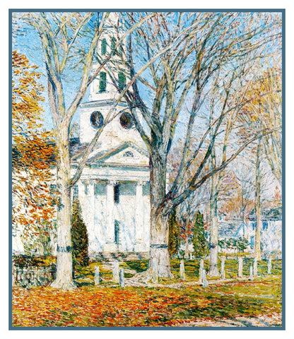 Church in Winter in Old Lyme Connecticut by American Impressionist Painter Childe Hassam Counted Cross Stitch Pattern