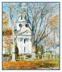 Church in Winter in Old Lyme Connecticut by American Impressionist Painter Childe Hassam Counted Cross Stitch or Counted Needlepoint Pattern