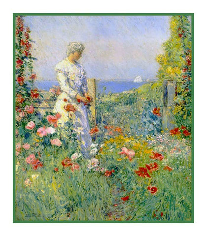Celia Thaxter in the Garden Isle of Shoals by American Impressionist Painter Childe Hassam Counted Cross Stitch Pattern