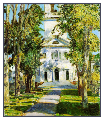 Gloucester Massachusetts Church by American Impressionist Painter Childe Hassam Counted Cross Stitch or Counted Needlepoint Pattern