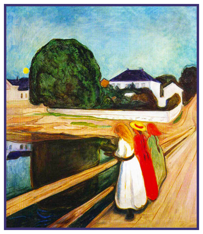 Girls on the Bridge by Symbolist Artist Edvard Munch Counted Cross Stitch Pattern