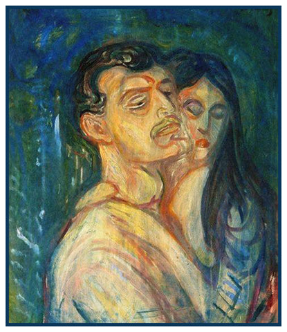 The Lovers by Symbolist Artist Edvard Munch Counted Cross Stitch Pattern