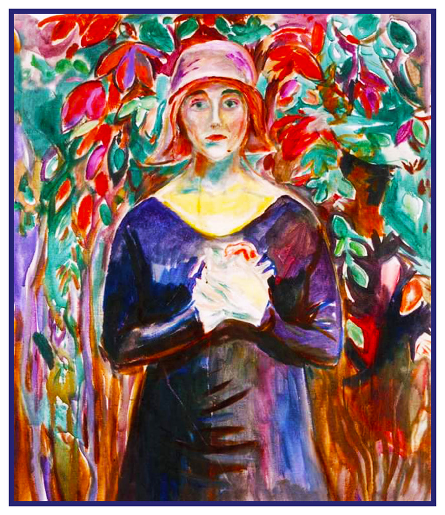 A  Model in the Garden by Symbolist Artist Edvard Munch Counted Cross Stitch or Counted Needlepoint Pattern - Orenco Originals LLC