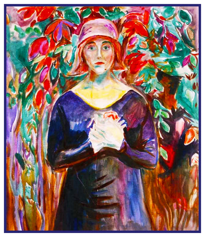 A  Model in the Garden by Symbolist Artist Edvard Munch Counted Cross Stitch Pattern