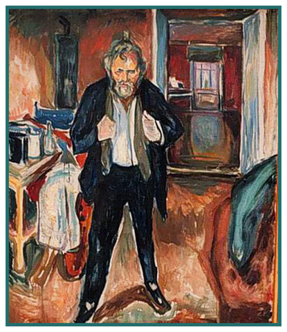 As an Old Man Self Portrait by Symbolist Artist Edvard Munch Counted Cross Stitch or Counted Needlepoint Pattern