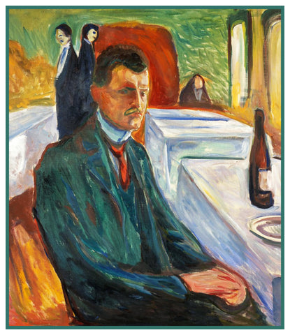 In a Cafe with Wine Self Portrait by Symbolist Artist Edvard Munch Counted Cross Stitch or Counted Needlepoint Pattern