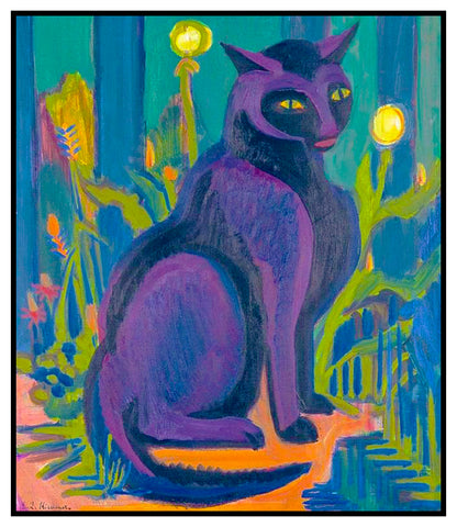 The Black Cat by Ernst Ludwig Kirchner Counted Cross Stitch or Counted Needlepoint Pattern