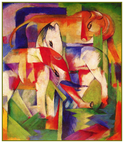Elephant Cow and Horse in Winter by Expressionist Artis Franz Marc Counted Cross Stitch or Counted Needlepoint Pattern