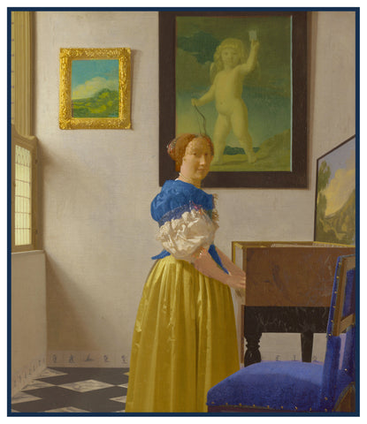 Lady Standing at the Spinet by Johannes Vermeer Counted Cross Stitch or Counted Needlepoint Pattern