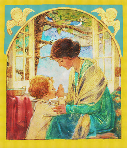 A Childs Prayer with Mama By Jessie Willcox Smith Counted Cross Stitch Pattern