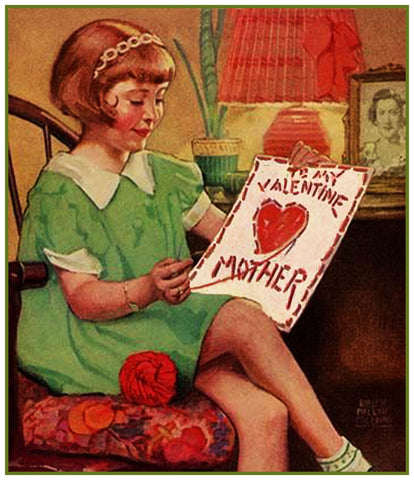 Vintage Jessie Willcox Smith's Girl Stitching Valentine to Mom Counted Cross Stitch Pattern