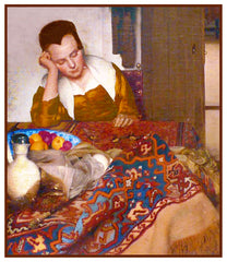 A Woman Asleep at Table by Johannes Vermeer Counted Cross Stitch Pattern