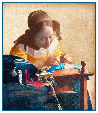 The Lace  Maker Detail by Johannes Vermeer Counted Cross Stitch or Counted Needlepoint Pattern