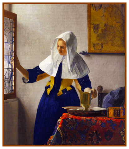Young Woman with a Water Jug by Johannes Vermeer Counted Cross Stitch or Counted Needlepoint Pattern