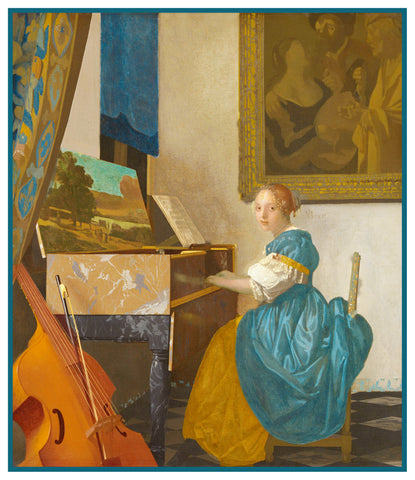 A Lady Seated at a Spinet Piano by Johannes Vermeer Counted Cross Stitch Pattern
