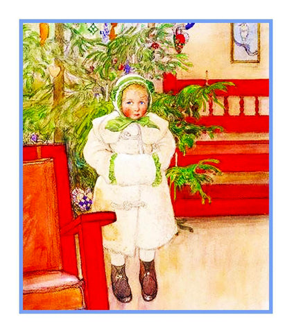Noel Maggie by Carl Larsson Holiday Christmas Counted Cross Stitch or Counted Needlepoint Pattern