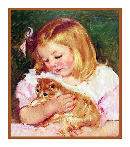 Sara Holding A Kitty Cat by American impressionist artist Mary Cassatt Counted Cross Stitch Pattern