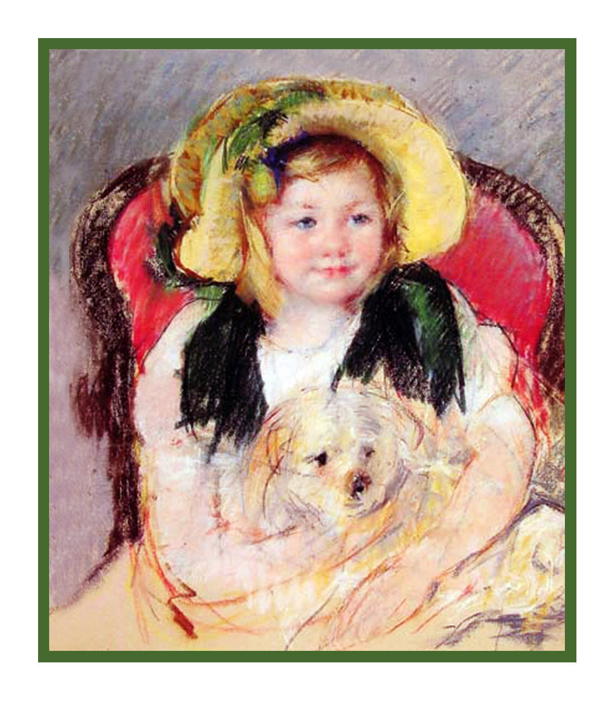 Sara Holding Her Puppy Dog By American Impressionist Artist Mary Cassatt Counted Cross Stitch Or Needlepoint Pattern