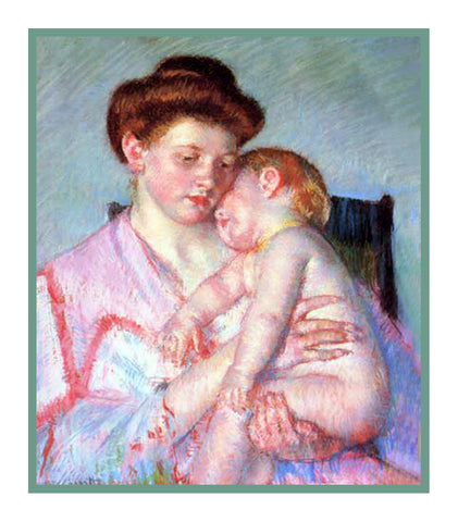 Mama and Sleeping Baby by American impressionist artist Mary Cassatt Counted Cross Stitch Pattern