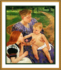 A Family Outing by American impressionist artist Mary Cassatt Counted Cross Stitch or Counted Needlepoint Pattern