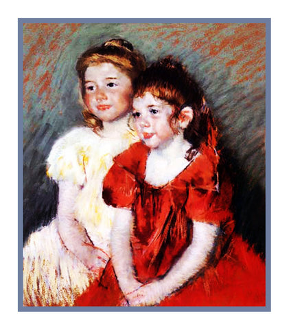 Sisters 2 Young Girls by American impressionist artist Mary Cassatt Counted Cross Stitch Pattern