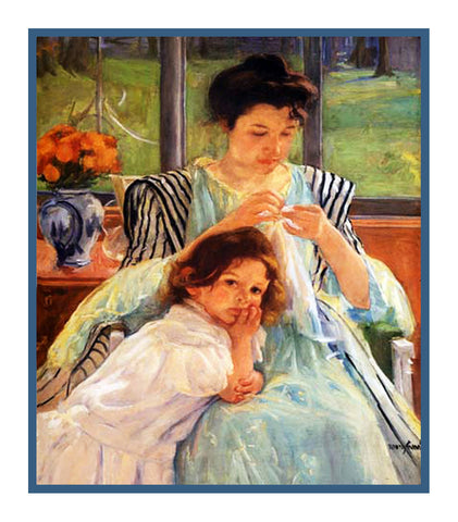 Young Mother Sewing by American impressionist artist Mary Cassatt Counted Cross Stitch Pattern
