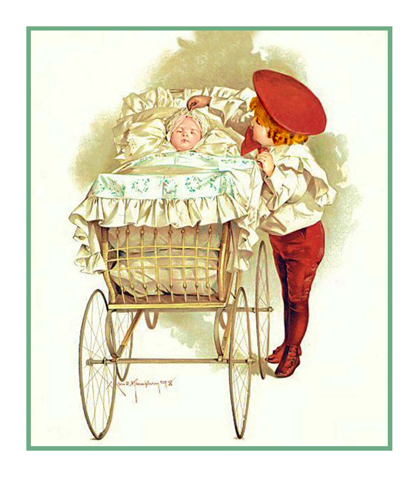 Maud Humphrey Bogart/'s Boy Baby Carriage Counted Cross Stitch Chart Pattern