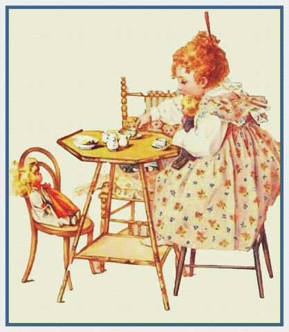 A Child's Teaparty with Dolls by Maud Humphrey Bogart Counted Cross Stitch Pattern