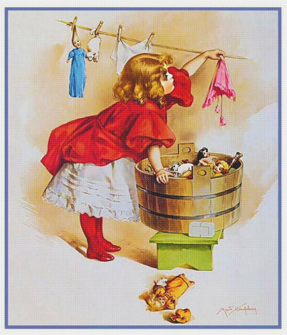 Young Girl Washing her Dolls Clothes by Maud Humphrey Bogart Counted Cross Stitch Pattern