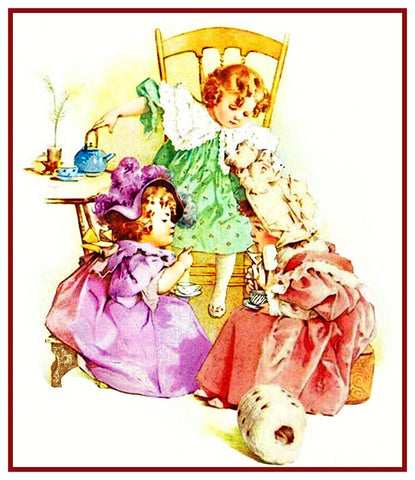 Young Girls at a Tea Party by Maud Humphrey Bogart Counted Cross Stitch Pattern