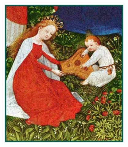Madonna detail of Garden of Paradise Upper Rhenish Master Medieval Tapestry Counted Cross Stitch or Counted Needlepoint Pattern