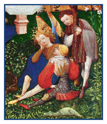 Angel detail of Garden of Paradise Upper Rhenish Master Medieval Tapestry Counted Cross Stitch Pattern