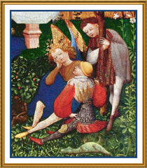Angel detail of Garden of Paradise Upper Rhenish Master Medieval Tapestry Counted Cross Stitch  Pattern - Orenco Originals LLC
