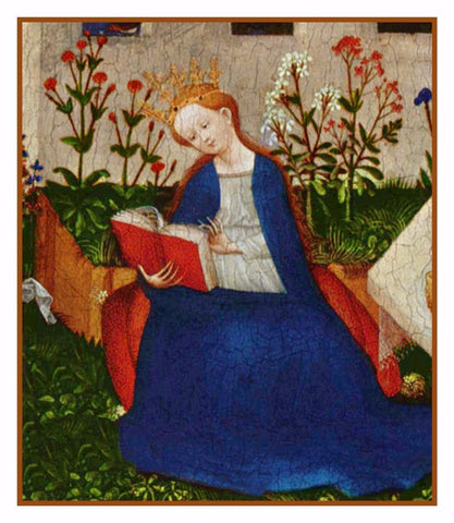 The Queen detail of Garden of Paradise Upper Rhenish Master Medieval Tapestry Counted Cross Stitch Pattern