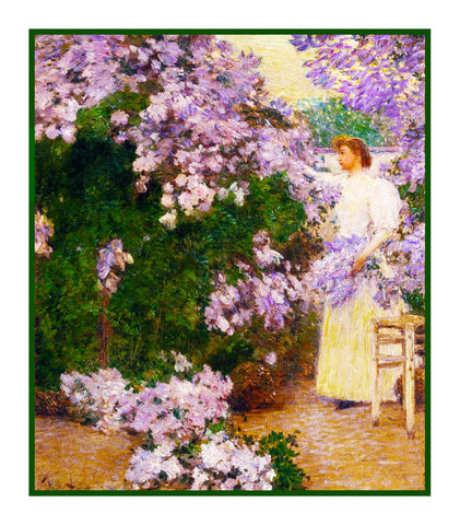 Mrs Hassam Cutting Lilacs  in the Garden by American Impressionist Painter Childe Hassam Counted Cross Stitch Pattern
