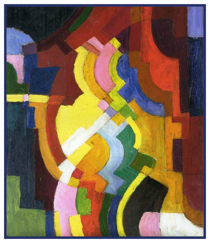 Colored Forms 3 Geometric by Expressionist Artist August Macke Counted Cross Stitch or Counted Needlepoint Pattern