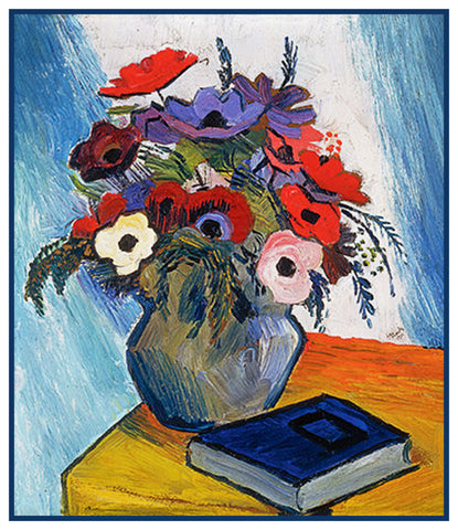 Still Life Anemone Flowers in Vase by Expressionist Artist August Macke Counted Cross Stitch Pattern