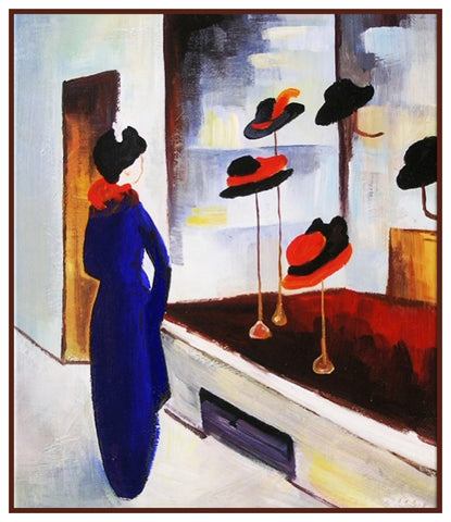 Woman Admiring Window in Hat Shop by Expressionist Artist August Macke Counted Cross Stitch Pattern