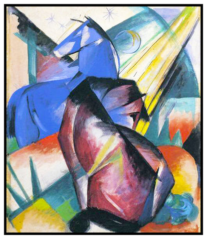 Two Horses Under The Stars by Expressionist Artis Franz Marc Counted Cross Stitch or Counted Needlepoint Pattern