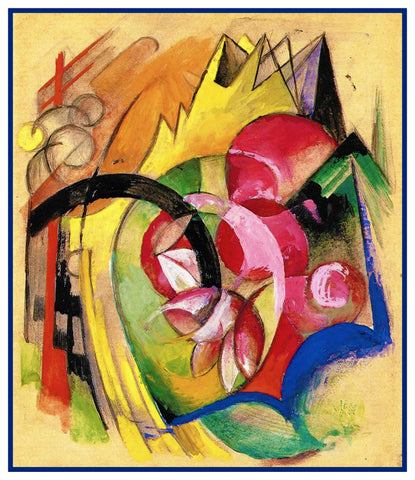 Abstract Flowers by Expressionist Artis Franz Marc Counted Cross Stitch Pattern