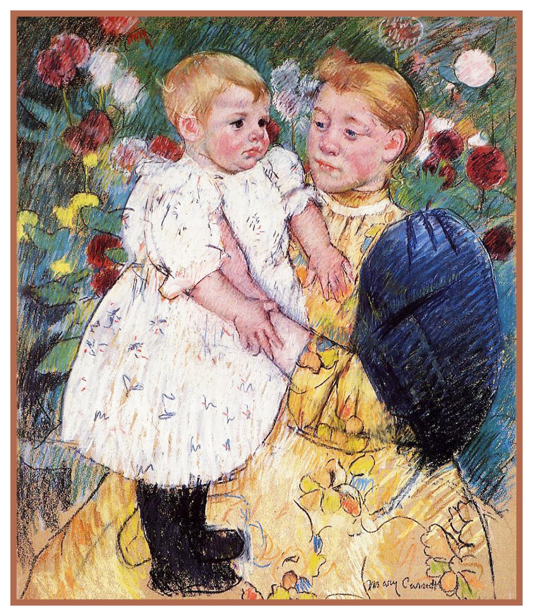 Mother Baby In The Garden By American Impressionist Artist Mary Cassatt Counted Cross Stitch Or Needlepoint Pattern