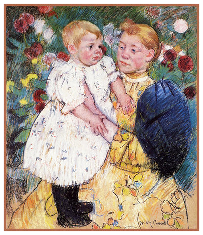 Mother Baby in the Garden by American impressionist artist Mary Cassatt Counted Cross Stitch Pattern