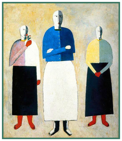 Geometric Three Girls by Artist Kazimir Malevich Counted Cross Stitch Pattern